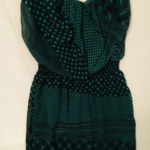 Green & Black Strapless Mini Dress